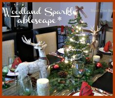 Fun, colorful and full of lights! What is not to love abut a table with a Christmas Tree as the centerpiece. Check out the Christmas tree Napkins too!!