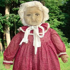 Old Mystery Velvet Mask Face Cloth Baby Doll Large 26in in Red Calico Dress