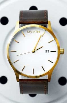 White/Gold Leather Watch x MVMT Watches Click the image to purchase