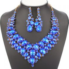 A Suit of Gorgeous Colored Water Drop Necklace and Earrings Jewelry For Women #CLICK! #clothing, #shoes, #jewelry, #women, #men, #hats