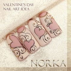 Get inspired by Norka's nail decoration! She used Moyra Magic foil and Foil gel to achieve this romantic look with hearts. With the help of a thin nail art brush you can draw about any pattern. Give it a try, it's easier than you'd think! Webshop: moyrastamping.com #moyra#moyrafoils#wearecolours @norkanaildesign