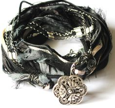 Black, White, and Gray Recycled/Upcycled Sari Silk, Leather, Yarn Cuff/Necklace ~♥ Diy Jewelry Projects, Jewelry Crafts, Jewelry Ideas, Ribbon Jewelry, Handcrafted Jewelry, Unique Jewelry, Textured Yarn, Yarn Inspiration, Textiles