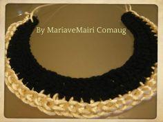 Elegant crochet necklace black and beige..