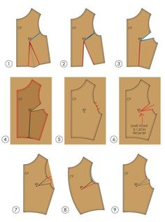 The Cutting Class — Fundamentals of Pattern Making: Moving Darts by Cut and Spread Sewing Lessons, Sewing Hacks, Sewing Tutorials, Sewing Projects, Sewing Tips, Diy Clothing, Sewing Clothes, Clothing Patterns, Sewing Patterns