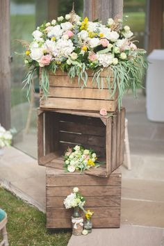 Pink Yellow Wooden Crates Wedding Decor / http://www.deerpearlflowers.com/country-wooden-crates-wedding-ideas/2/