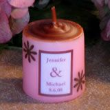 """Pink/Brown Flower Candle - 1.75"""" tall"""