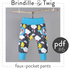 Baby faux pocket pants pdf pattern sizes 03M by brindilleandtwig, $7.50