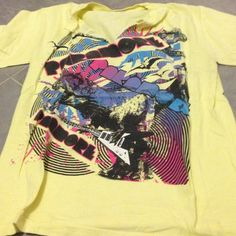 Paramore tshirt Light yellow tee with paramore graphics. Tear down center off tee (bought that way) pacific Tops