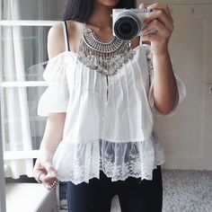 thanyaw get a boho vibe with this boho lace sleeve top and those coin pendant necklace.