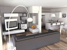Open space livingroom and kitchen New Living Room, Small Living Rooms, Home And Living, Style At Home, Small Appartment, Home Additions, Small House Plans, Luxury Kitchens, Cool Rooms