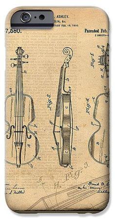 VIOLIN PATENT DRAWING ART CELL PHONE CASE: Antique / Vintage Patent Art Drawing of Violin. Click for purchase info or to view entire patent art drawing gallery.
