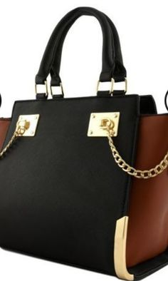 TWO TONED TOTE WITH CHAIN ACCENT