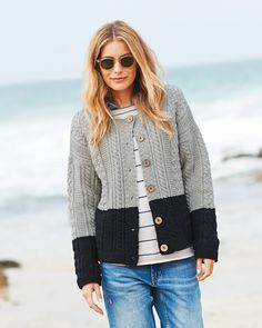 A new take on the classic box cardi, the cable cardi is longer in length and features a vertical cable knit. Shop now. Workout Pants, Cable Knit, Knitwear, Shop Now, Knitting, Classic, Sweaters, Shopping, Women