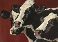 Holstein Trio with Red by Denise Rich Oil ~ 12 x 16