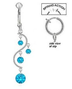 No piercing necessary, this beautiful aqua blue belly button ring is spring action. It clips right on simple and quick.