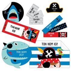 Étiquettes personnalisées autocollantes PIRATES dessinées et produites à Québec par la compagnie CLÉMENT. Paquet de 150. Livraison gratuite partout au Canada. PIRATE Peel-n-Stick Name Labels
