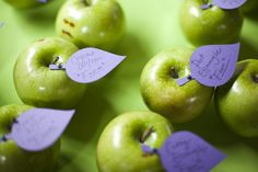 Green apples as escort card holders. LOVE This @Jenn L Adams