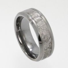 Men's Tungsten Ring Band inlaid with rare by jewelrybyjohan