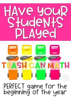 Trash Can Math | The Sassy Sub A great place value math game to play at the beginning of the year- **FREE**