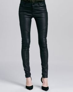 Moto Leather Pants, Black by Vince at Neiman Marcus.