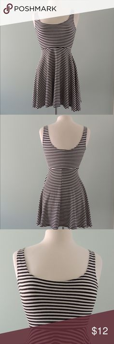 Urban Outfitters Kimchi Blue Striped Skater Dress Black and White Striped Skater Dress, Worn Once Urban Outfitters Dresses Mini