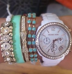 Mint & White Arm Candy ♡ Mint is such a pretty color even for fall. Brand names are Michael Kors. This is precious with any outfit.