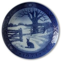 9.00 to 15.00-Hare in winter 1971, Royal Copenhagen Christmas plate