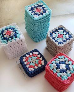 No photo description available. Crochet Ripple Blanket, Crochet Granny, Crochet Stitches, Love Crochet, Knit Crochet, Easy Crochet, Crochet Blocks, Crochet Squares, Baby Knitting Patterns
