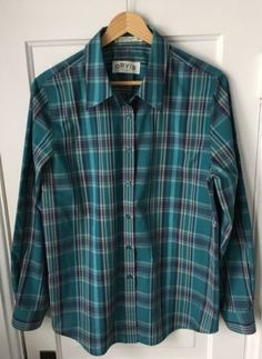 Orvis-Women-039-s-Button-Down-Blouse-Sz-12-Blue-Plaid-Wrinkle-Free-Non-Iron-Travel
