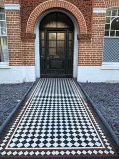 Mosaic tiles Victorian Hallway Tiles, Victorian Mosaic Tile, Tiled Hallway, Victorian Pattern, Victorian House London, Victorian Porch, Porch Tile, York Stone