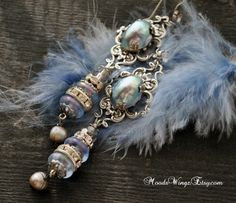 Marie-Antoinette very long unique earrings, assembled jewelry, antique French beads, silver; Pearls, blue Versailles style, movie star