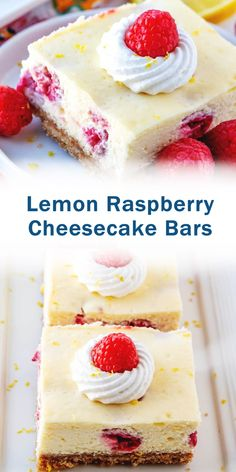 Lemon Raspberry Cheesecake Bars - creamy cheesecake bars with raspberry pie filling swirl. Sweet, creamy and delicious! Best Dessert Recipes, Cheesecake Recipes, Fun Desserts, Real Food Recipes, Healthy Recipes, Lemon Raspberry Cheesecake, Raspberry Recipes, Granny's Recipe, Bean Cakes