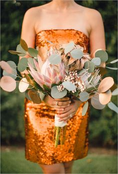 Beautiful leafy and whimsical bouquet with gold touches. Floral Design: Poppy Lane Design #wchappyhour ---> http://www.weddingchicks.com/2014/06/02/wedding-chicks-happy-hour-9/