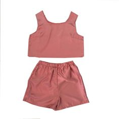 ae5f1893c4 Rose pink satin crop top and high-waisted shorts set Co Ords Outfits