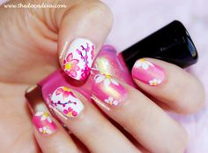 Summery Floral Nails by Oeendree M Floral Nail Art, Nail Art Diy, Cool Nail Art, Diy Nails, Cute Nails, Pretty Nails, Beautiful Nail Designs, Cute Nail Designs, Sally Hansen Nails