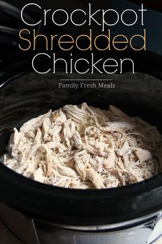 Easy Crockpot Shredded Chicken - - This Crockpot Shredded Chicken is the easiest recipe ever! Throw your chicken in the crockpot and go about your day. Use in salads, wraps or sandwiches. Crock Pot Slow Cooker, Crock Pot Cooking, Slow Cooker Chicken, Slow Cooker Recipes, Crockpot Recipes, Cooking Recipes, Healthy Recipes, Chicken Meals, Roast Chicken