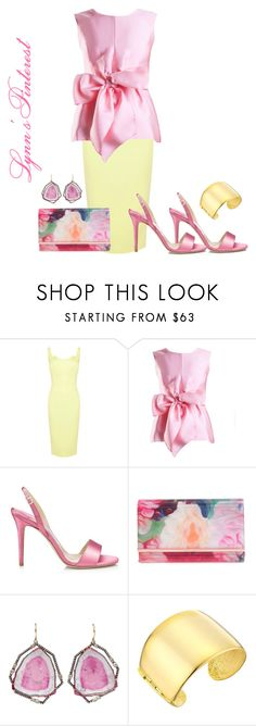 """""""Spring Edition:Yellow and Pink 2 -  #4403"""" by lynnspinterest ❤ liked on Polyvore featuring Yanny London, Jimmy Choo, Ted Baker, Jemma Wynne and Kenneth Jay Lane"""