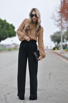 An attractive fall/winter work outfit! Love high waist slacks. This is sexy, adorable and everything
