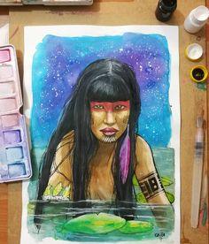 "54 Me gusta, 2 comentarios - Grillo Benitez Balcinha (@grillote69) en Instagram: ""#watercolorpainting #watercolor #acuarelas #paraguay #nativa #mujernativa #guaraní #arte #art"""
