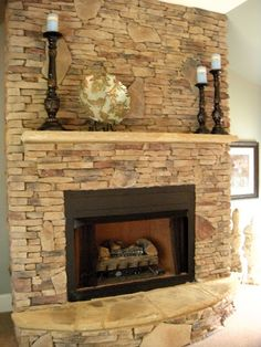 I like the stone in this fireplace. Fireplace idea-really like this as a focal point for later-would work with the kitchen cabinetry Fireplace Redo, Fireplace Remodel, Fireplace Design, Fireplace Refacing, Fireplace Ideas, Home And Deco, Home Living Room, My Dream Home, Great Rooms
