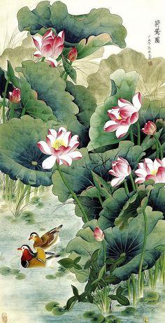 "Photo from album ""Китай Живопись"" on Yandex. Art Lotus, Lotus Kunst, Lotus Painting, Japan Painting, Art Floral, Feng Shui Art, Art Chinois, Art Asiatique, Art Japonais"