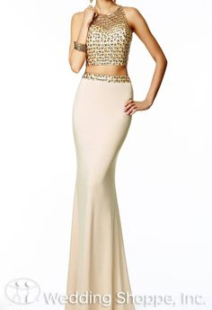Nude and gold crop top prom dress.