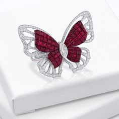 Madame in Kimono ring. Invisibly set ruby butterfly, dressed in a sparkling white diamond kimono. Discover our Mademoiselle B. White Burgundy, Burgundy Color, Pink Brown, Brown And Grey, Red Jewelry, Jewellery, Bordeaux, Burgundy Fashion, Butterfly Ring