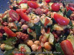Poêlée courgettes, pois chiches et chorizo