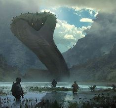Me gusta, 24 comentarios - Premium Fantasy Art (Pascale Laporte. 3d Fantasy, Fantasy Landscape, Fantasy Artwork, Fantasy World, Final Fantasy, Monster Art, Fantasy Monster, Snake Monster, Creature Concept
