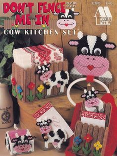 Don't Fence Me in Cow Kitchen Set, Annie's Attic Plastic Canvas Pattern Booklet 878605