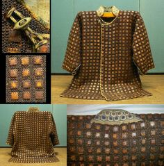 Antique Edo period samurai kusari and karuta katabira (jacket with chain armor and small square armor plates). This katabira is constructed with approximately 2000 small square armor plates (karuta).