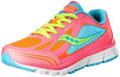 Saucony Girls Kinvara 5 Running Shoe (Little Kid/Big Kid),Vizipro Coral/Orange/Blue,10.5 M US Little Kid. Colorful running shoe featuring breathable mesh upper, reinforced stitched toe cap, and hook-and-loop closure. Padded tongue and collar. ABZORB cushioning. EVA midsole.