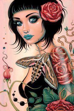 Surrealismo Pop di Caia Koopman - White Lined Sphinx, 2017 Fantasy Kunst, Dark Fantasy Art, Art And Illustration, Love Painting, Painting Prints, Paintings, Art Sketches, Art Drawings, Chica Gato Neko Anime