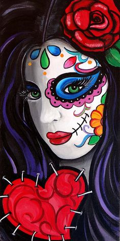 Love Stuck Day of the Dead Art by Melody Smith by UrbanArtByMelody, $20.00